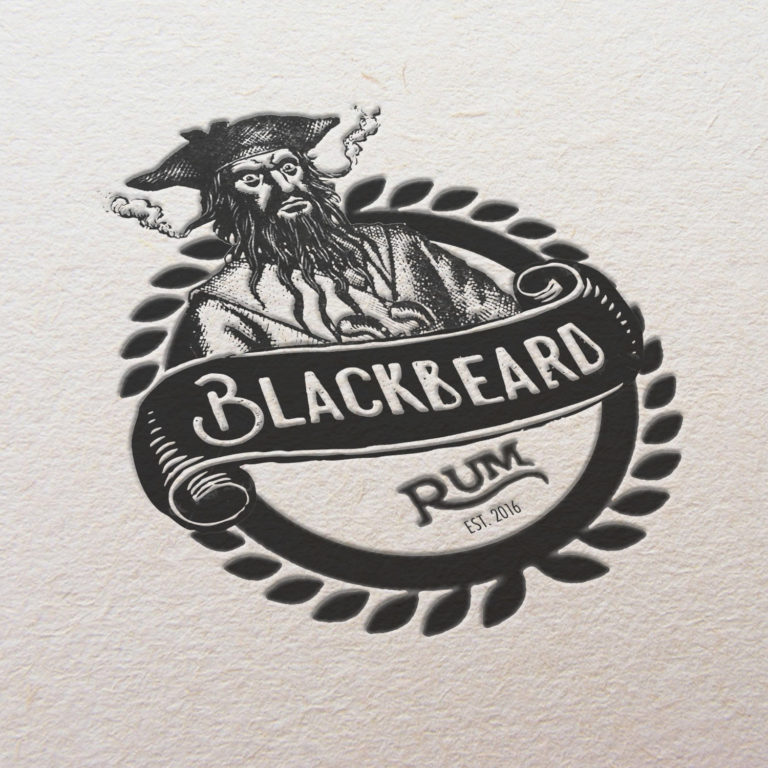 Blackbeard Rum logo design web dev pencil illustration digital edit hybrid blend